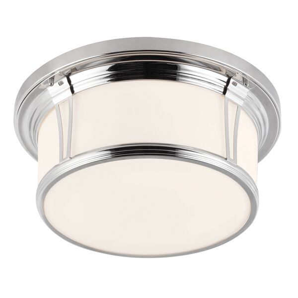 Elstead Woodward Large Polished Nickel Flush Ceiling Light