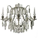 Krebs Baroque 5 Almond Obelisk Crystal Nickel Finish Chandelier