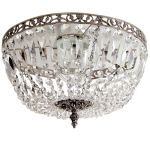 Krebs Plafond 36cm Nickel Finsh Octagon Crystal Chandel